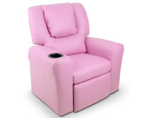 Children's Pink Leather Recliner Chair