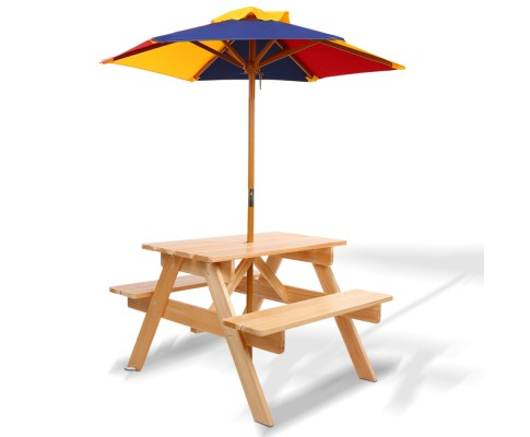 Keezi Children's Wooden Picnic Table Set with Umbrella