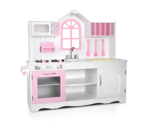 Children's Wooden Kitchen Play Set - White & Pink