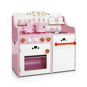 Children's Wooden Kitchen Play Set - Pink