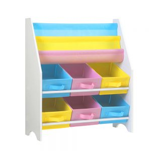 Kids Bookshelf Toy Storage Organizer Bookcase 2 Tiers