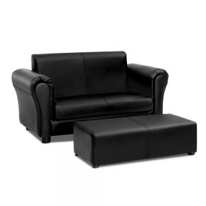 Children Sofa Armchair Footstool Double Lounge Set-Black