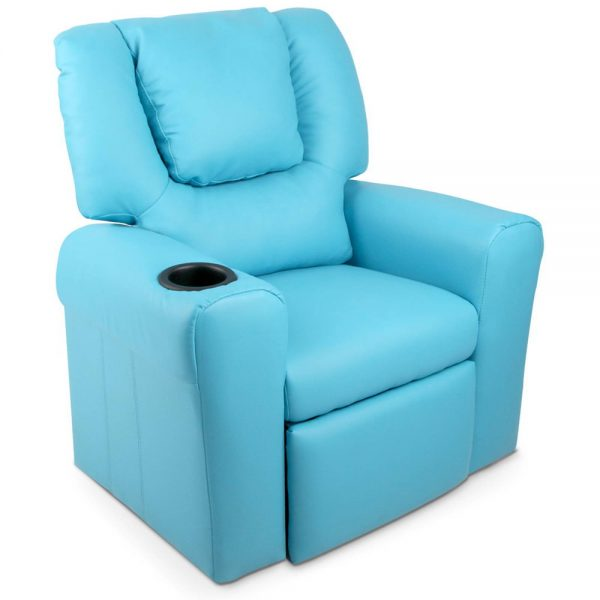 Children's Blue Leather Recliner Chair