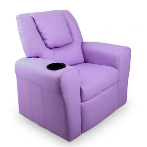 Children's Purple Leather Recliner Chair