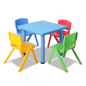 Keezi Children's Five Piece Kids Table and Chair Set - Blue