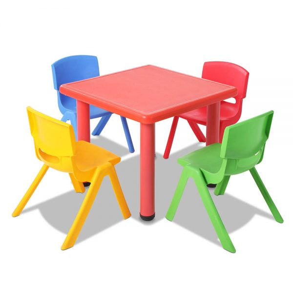 Keezi Children's Five Piece Kids Table and Chair Set - Red