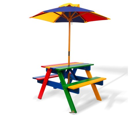 Children's Wooden Picnic Table Set with Umbrella