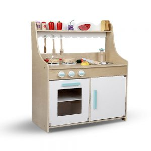 Children's 15 piece Wooden Kitchen Play Set - Natural & White