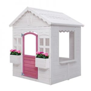 Children's Wooden Cubby House with Floor Pretend Play
