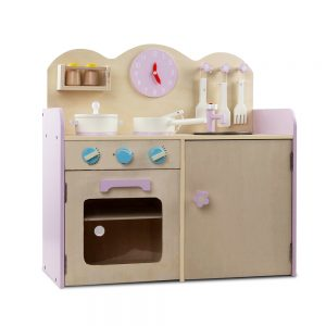 Children's 7 piece Wooden Kitchen Play Set - Natural & Pink