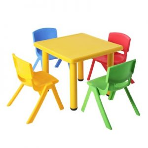 Keezi Children's Five Piece Table and Chair Set - Yellow