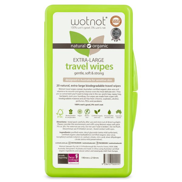 Wotnot Extra-Large Travel Wipes x 20 Pack Hard Case