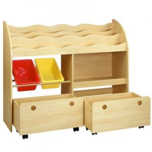 Children's Bookshelf Toy Bin Storage Box 3 Tiers 2 Drawers