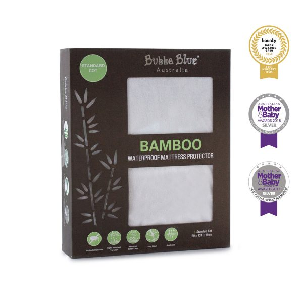 Bamboo White Standard Cot Waterproof Mattress Protector