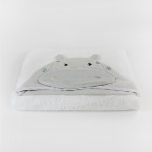 Zoo Animals 'Hippo' Novelty Hooded Bath Towel