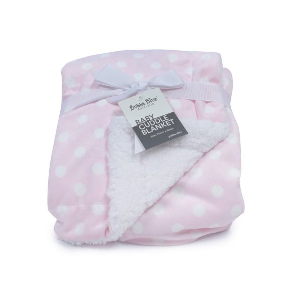 Pink Polka Dots Reversible Cuddle Blanket