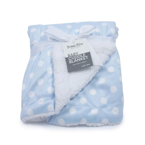 Blue Polka Dots Reversible Cuddle Blanket