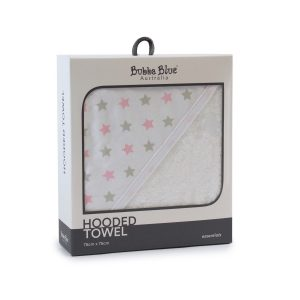 Everyday Essentials Hooded Towel - Pink & Grey Stars