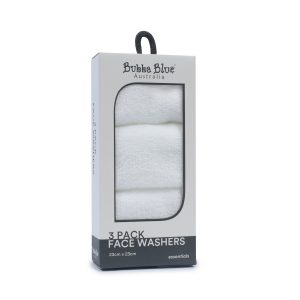 Everyday Essentials 3pk Face Washers - White