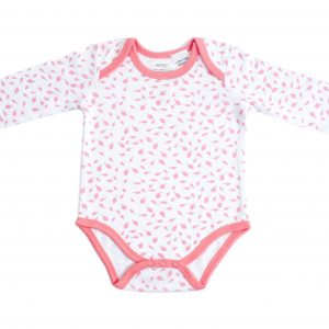 Organic Cotton Long Sleeve Bodysuit - AUTUMN LEAVES PINK