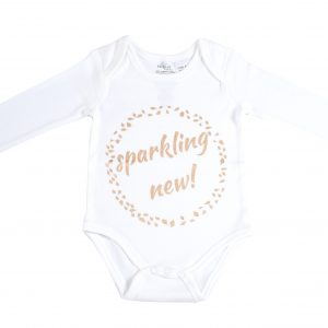 Organic Cotton Long Sleeve Bodysuit - SPARKLING NEW GOLD