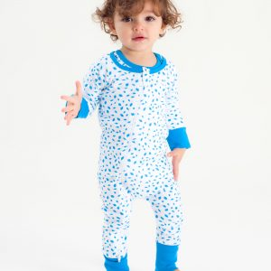 Organic Zip Romper - AUTUMN LEAVES BLUE