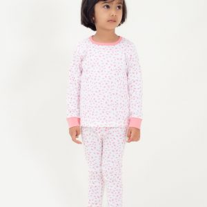 Organic Cotton Kids Long John PJ Set - AUTUMN LEAVES PINK