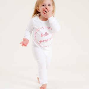 Organic Cotton Baby Growsuit - HELLO GORGEOUS PINK