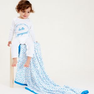 Organic Cotton Baby Growsuit - HELLO GORGEOUS BLUE