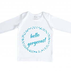 Organic Cotton Long Sleeve Baby T-Shirt - HELLO GORGEOUS BLUE