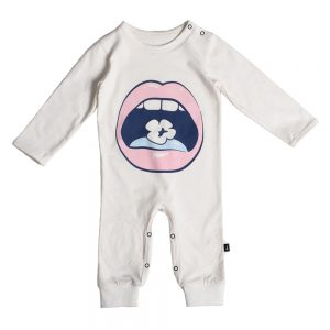 Pop Mouth LS Romper Chalk