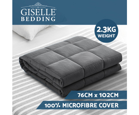 Weighted Blanket Kids 2.3KG Heavy Gravity Blankets Microfibre Cover Comfort Calming Deep Relax Better Sleep Grey