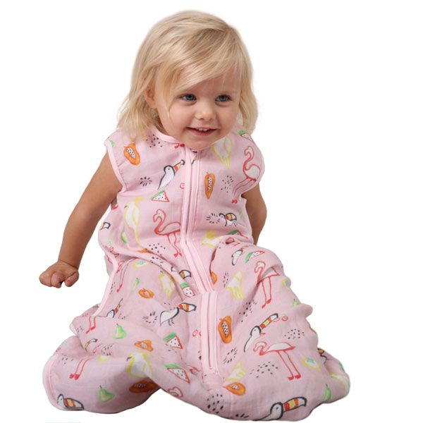 Plum Bamboo Muslin Sleepbag Watercolour Paradise 0.5Tog