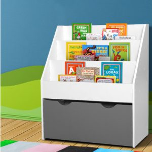 Keezi Kids Bookshelf Storage Shelf Wooden-White