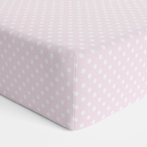 Pink Polka Dots Bassinet Jersey Fitted Sheet