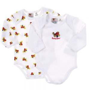 Buzzy Bee Infants 100% Cotton Knitted L/S Bodysuit 2pk