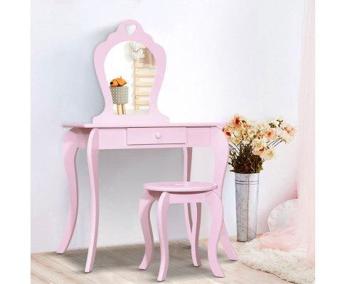Keezi Kids Pink Makeup Mirror Dressing Table Stool Set