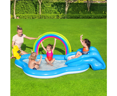 Bestway Inflatable Kids Swimming Pool Rainbow Slide Play Above Ground
